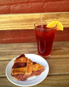 Strawberry Rhubarb Pie and a glass of Iced Hibiscus. You don't want to miss this!